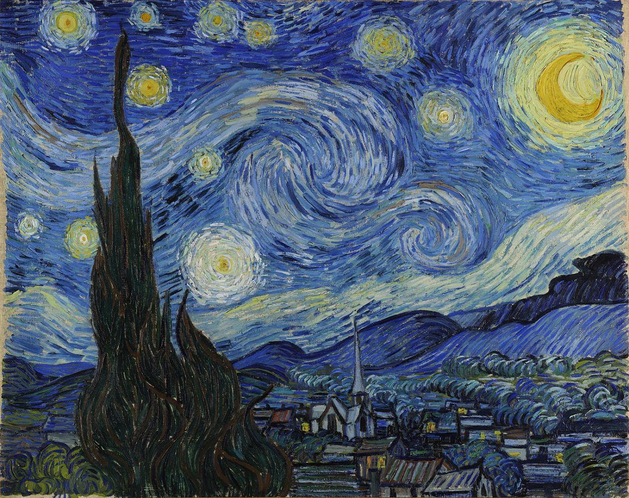 """Quadro """"A Noite Estrelada"""" mostea uma cidade com céu azul serepenteante e fagulhas de luz que remetem a estrelas"""