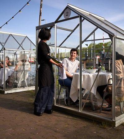 Restaurante cria estufas individuais para receber clientes em tempos de coronavírus