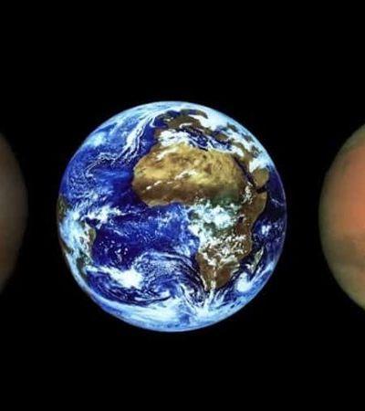 Fotografia mostra Terra e Vênus a partir da perspectiva de Marte