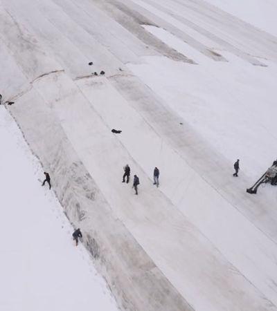 Itália cobre geleira com lençol para impedir derretimento de neve dos Alpes