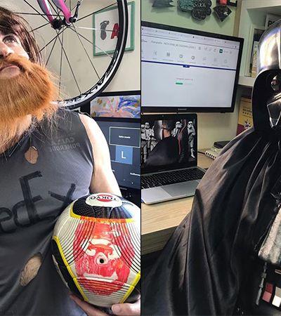 Professor se fantasia de Darth Vader e Freddie Mercury para amenizar aula online na pandemia
