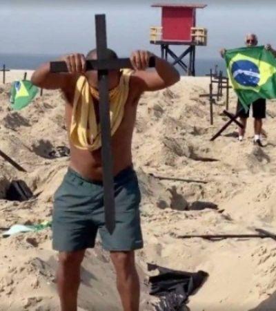 Pai que teve filho morto por coronavírus pede respeito após homem derrubar cruzes em protesto