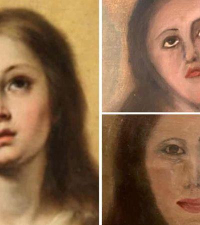 Restauração falha miseravelmente (de novo) e deforma quadro de Virgem Maria