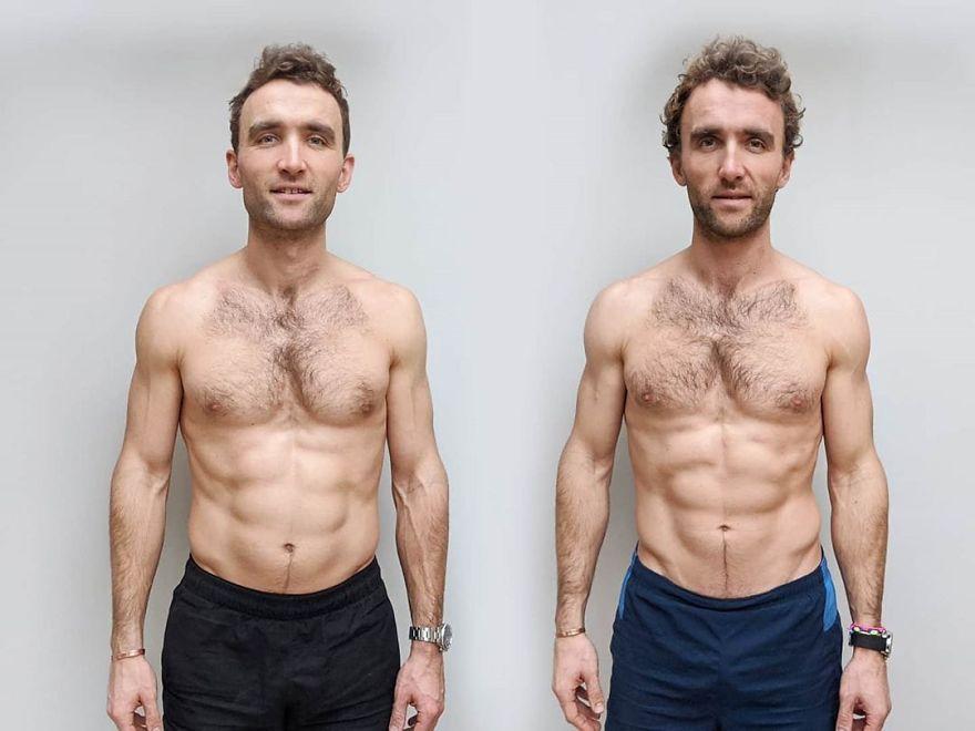 Hugo (esquerda) adotou uma dieta vegana. Ross (direita) teve uma alimentação rica em carnes.