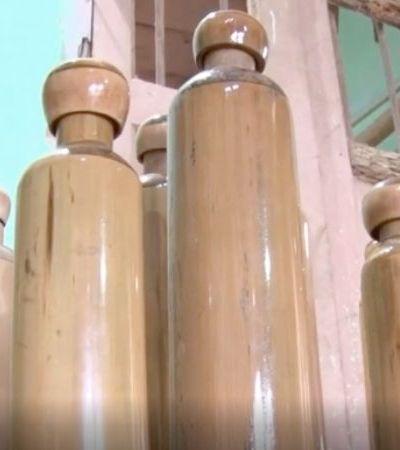 Garrafas de bambu são alternativa a garrafas pet na Índia
