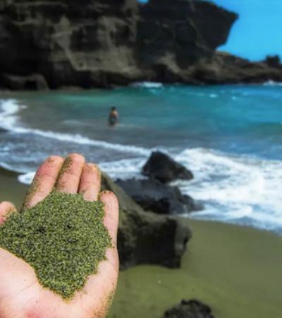 Praia de areia verde é alternativa no combate às mudanças climáticas
