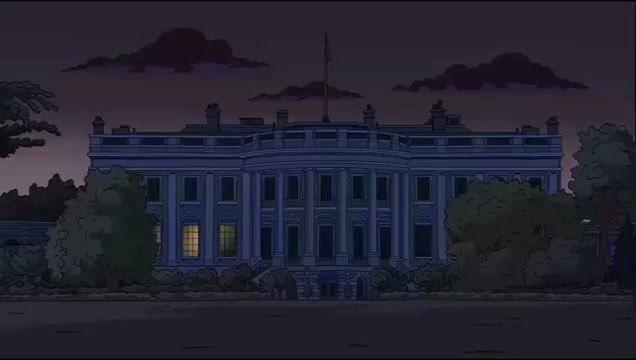 """Casa Branca com as luzes apagadas em """"Os Simpsons"""""""