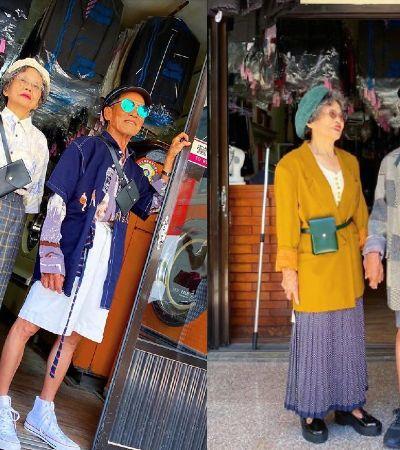Casal de idosos arrasa posando com roupas esquecidas em sua lavanderia