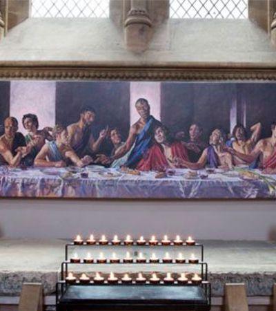 Catedral retrata Jesus negro em quadro da última ceia ao reabrir após pico de coronavírus