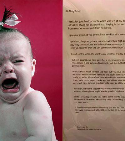 Mãe dá melhor resposta para vizinho insensível que reclamou do choro de bebê