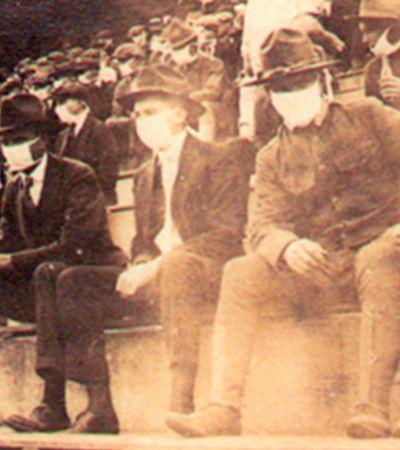 Pandemia de 102 anos atrás tinha torcedores de máscara nos estádios