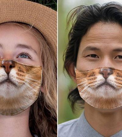 Máscaras fazem sucesso com rosto de gatos em diferentes variações de humor