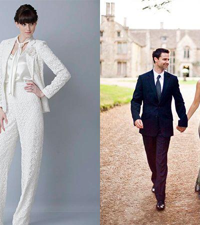 Noivas deslumbrantes que dispensaram os vestidos brancos – ou mesmo qualquer vestido – para seus casamentos