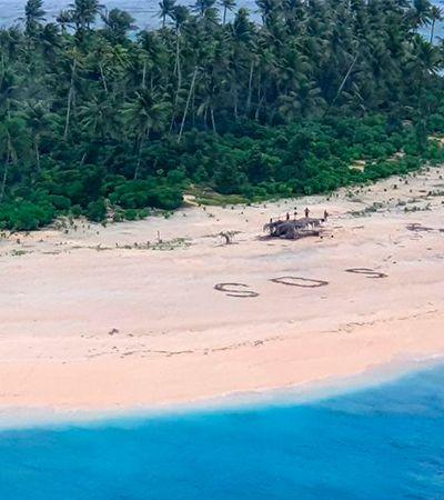 Marinheiros resgatados em ilha no Pacífico desenharam 'SOS' na areia