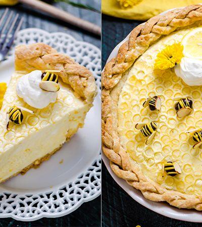 Aprenda a fazer esta deliciosa e linda torta de mel e limão com superfície de favos de mel