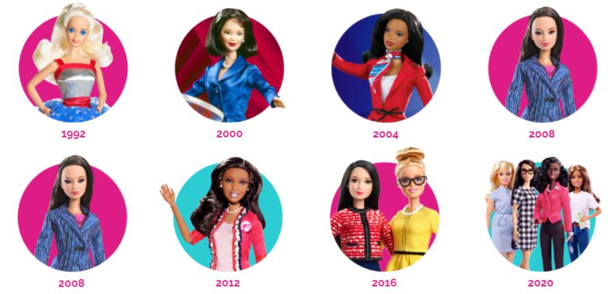 Bonecas Barbie que concorreram à presidência de 1992 a 2020