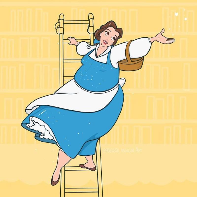 Ilustração da princesa Bela, de 'A Bela e a Fera', em formato plus size