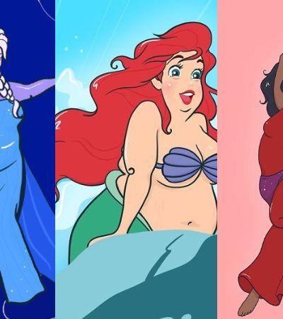 Princesas da Disney são desenhadas em formato plus size em reflexão sobre beleza