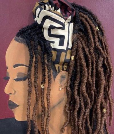 Artista pinta mulheres negras com cabelo de verdade e forma quadros super criativos