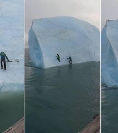 Iceberg cai, literalmente, sobre a cabeça de exploradores no Ártico e vídeo impressiona