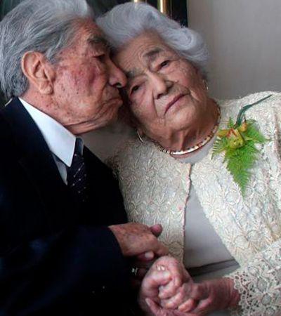 Juntos há 79 anos, casal mais velho do mundo esbanja amor e carinho