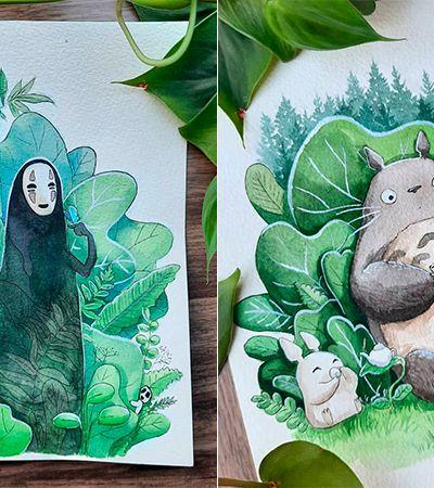 Artista recria personagens de animes do Studio Ghibli interagindo com a natureza
