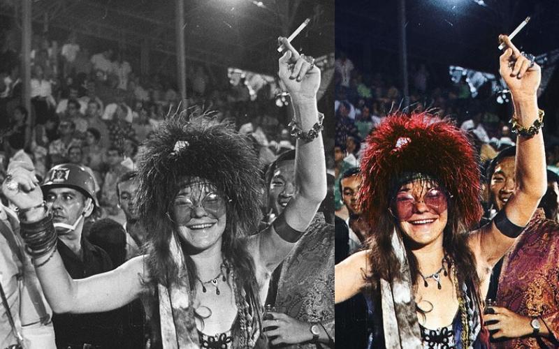 Foto de Janis Joplin no Carnaval do Rio de Janeiro, em 1997, colorida por Marina Amaral (à direita)