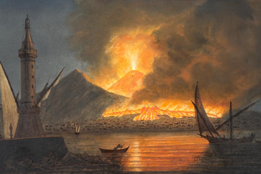 Ilustração da grande erupção do Vesúvio em 20 de outubro de 1767