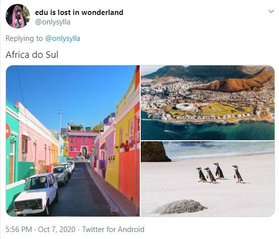 Três imagens: uma de uma rua cheia de casa coloridas, cada uma de uma cor; a segunda mostra uma imagem aérea da capital, em que o mar também encontra a cidade; a terceira é a foto de uma praia com alguns pinguins passeando