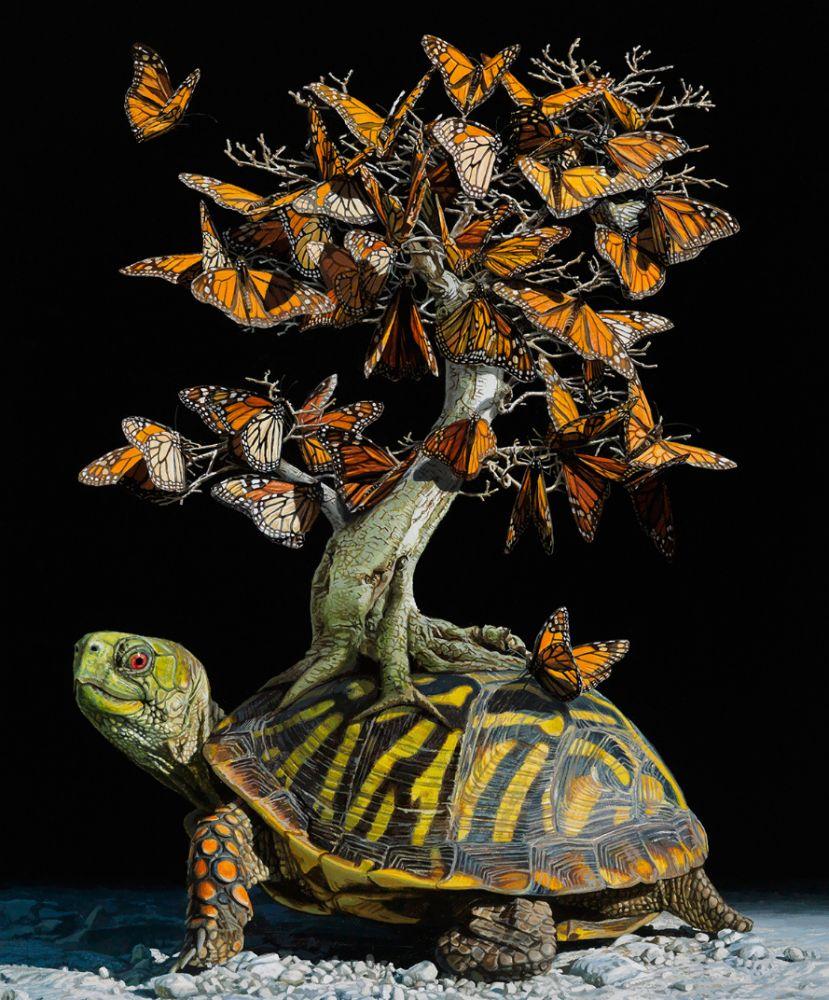 Pintura de uma tartaruga com uma árvore cheia de borboletas sobre o casco