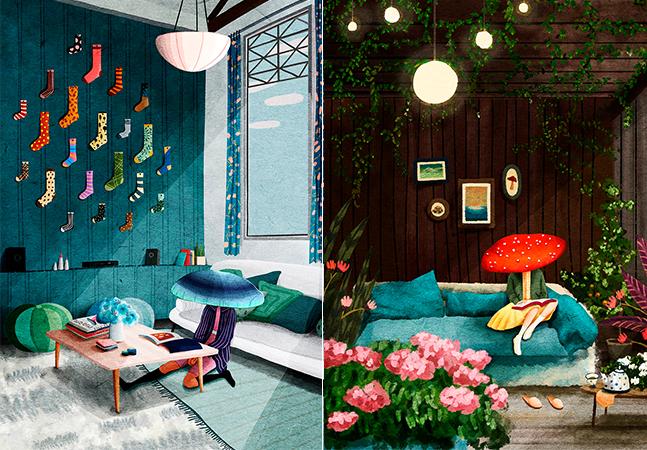 Um mundo de sonhos, aventuras tropicais e cogumelos nas ilustrações de Ceci Lam