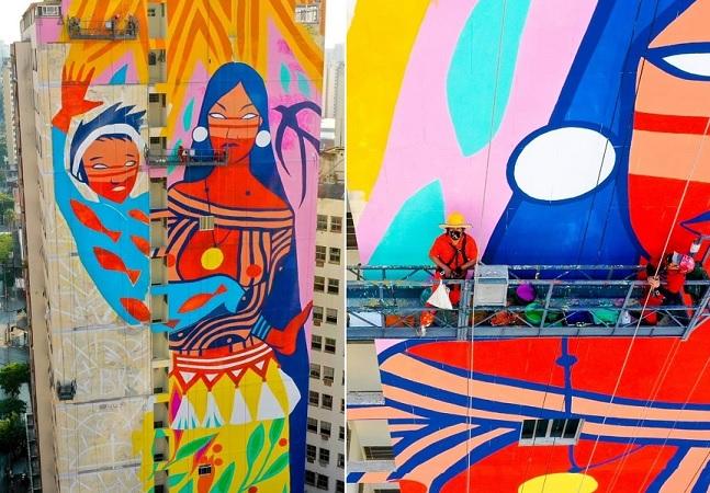 Daiara Tukano, a autora do maior mural feito por uma artista indígena no mundo