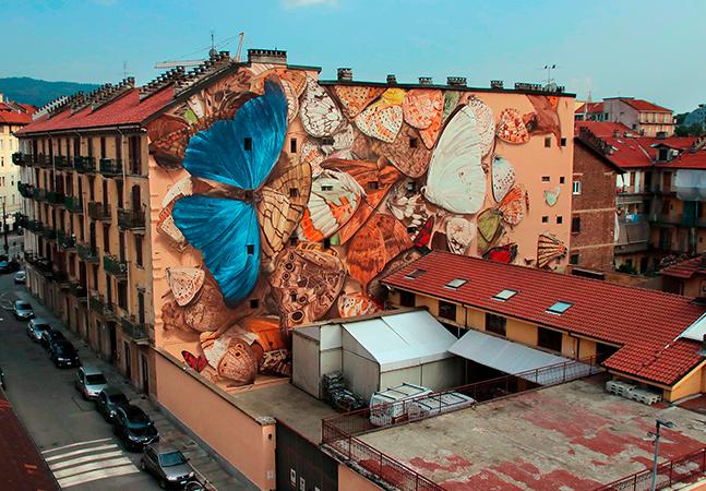 Artista de rua francês espalha imensas borboletas pelas paredes de cidades do mundo todo