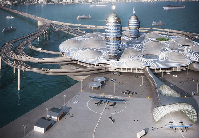 Arquitetos projetam o aeroporto do futuro para viagens espaciais comerciais