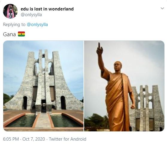 Duas imagens do mausoléu Kwame Nkrumah, uma homenagem ao primeiro presidente de Gana