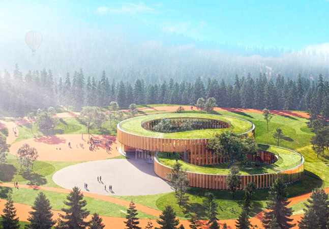 Projeto de escola inspirado em casa na árvore conecta crianças com a natureza