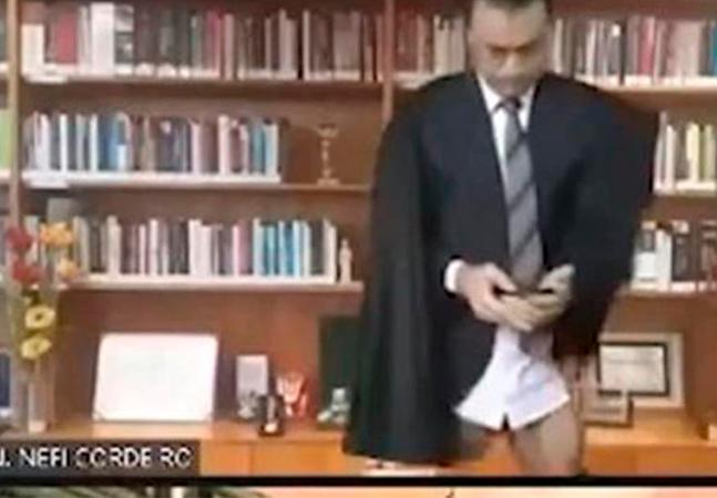 Ministro do STJ aparece sem calças em transmissão oficial