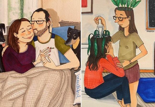 A parte boa e oculta dos relacionamentos longos em ilustrações honestas e delicadas