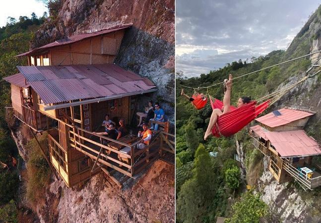 Você teria coragem de passar a noite nesta cabana na encosta de um penhasco?