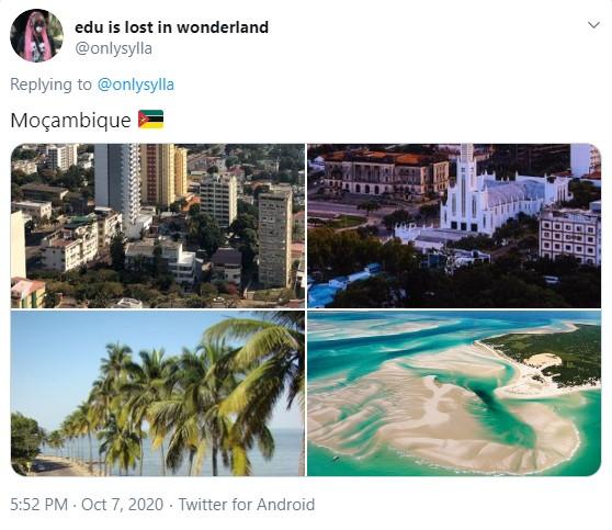 Duas fotos de centros urbanos e duas fotos de praias paradisíacas