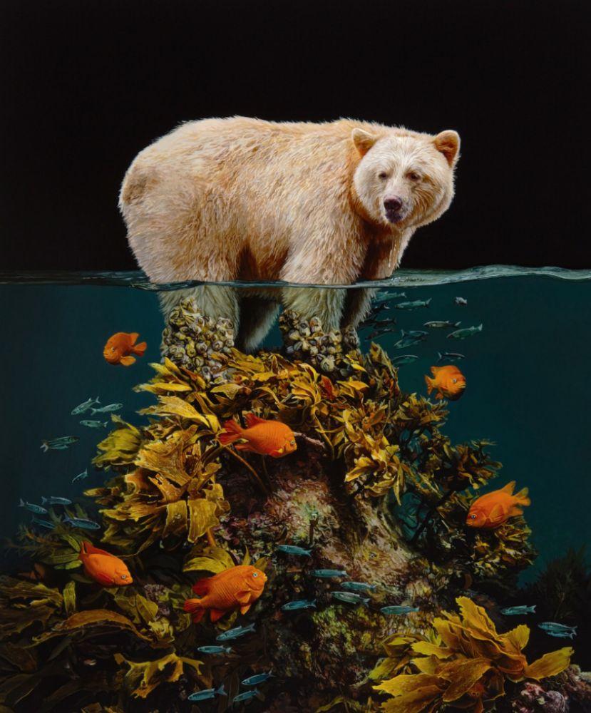 Pintura de um urso polar sobre um pequeno pedaço de terra submerso, sem sinal de gelo ao redor