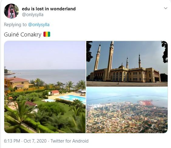 Três imagens: a primeira mostra algumas moradias com piscina próximas ao mar; a segunda mostra uma igreja; a terceira mostra uma vista aérea de uma cidade à beira mar