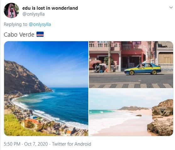 O tuíte apresenta três fotos: duas de belíssimas praias e uma de um cidade com arquitetura antiga