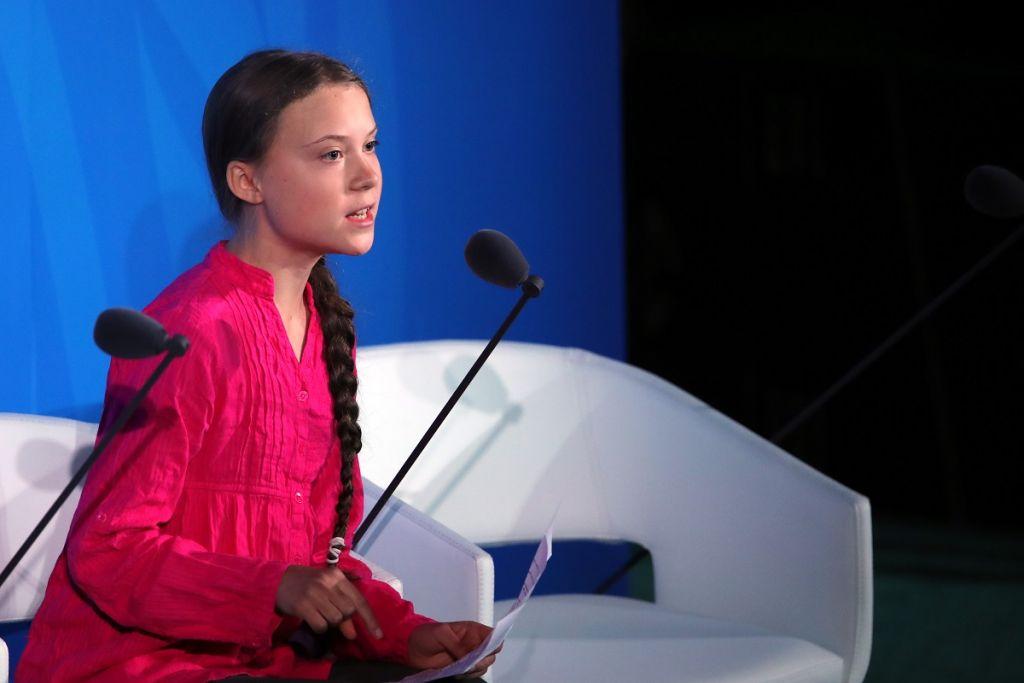 A ativista sueca Greta Thunberg fala na ONU, durante a Conferência do Clima.
