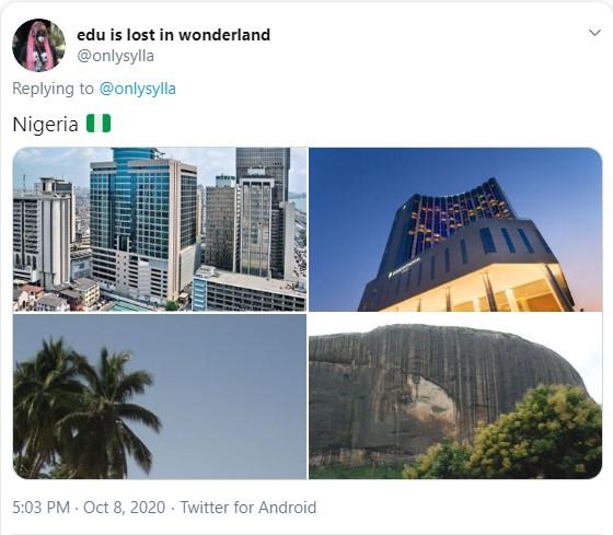 Duas imagens de prédios elegantes e duas imagens de regiões litorâneas