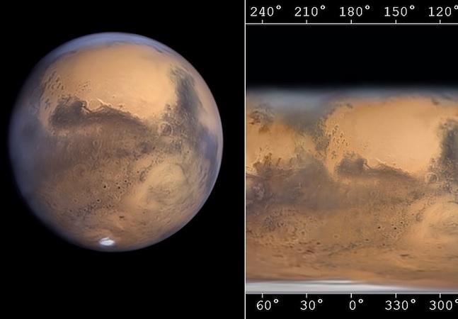 O mapa de Marte detalhado que se tem até agora feito a partir de fotos tiradas da Terra