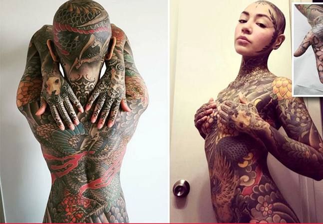 Mulher investe quase R$ 150 mil e gasta mais de 200 horas para tatuar corpo da cabeça aos pés