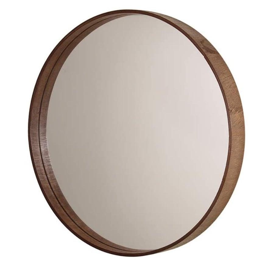 Espelho redondo de madeira - Amazon