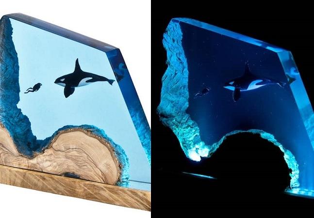 Luminárias de resina te levam para o fundo do oceano com brilho tranquilo e azulado