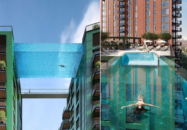 Piscina transparente com mais de 30 metros de altura vira 'passarela' entre prédios